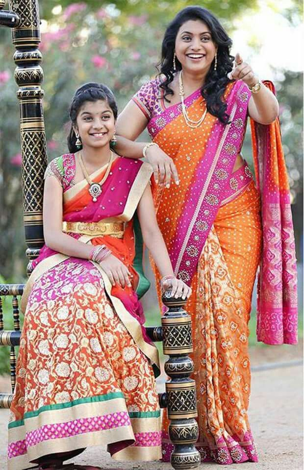 Actress Roja With Her Daughter In Traditional Wear