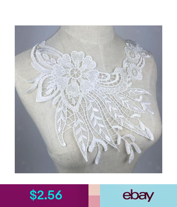 Black Lace Embellishment Sewing Applique Trims Flower Embroidered Venise Neckline Collar Patch Fabric Patches