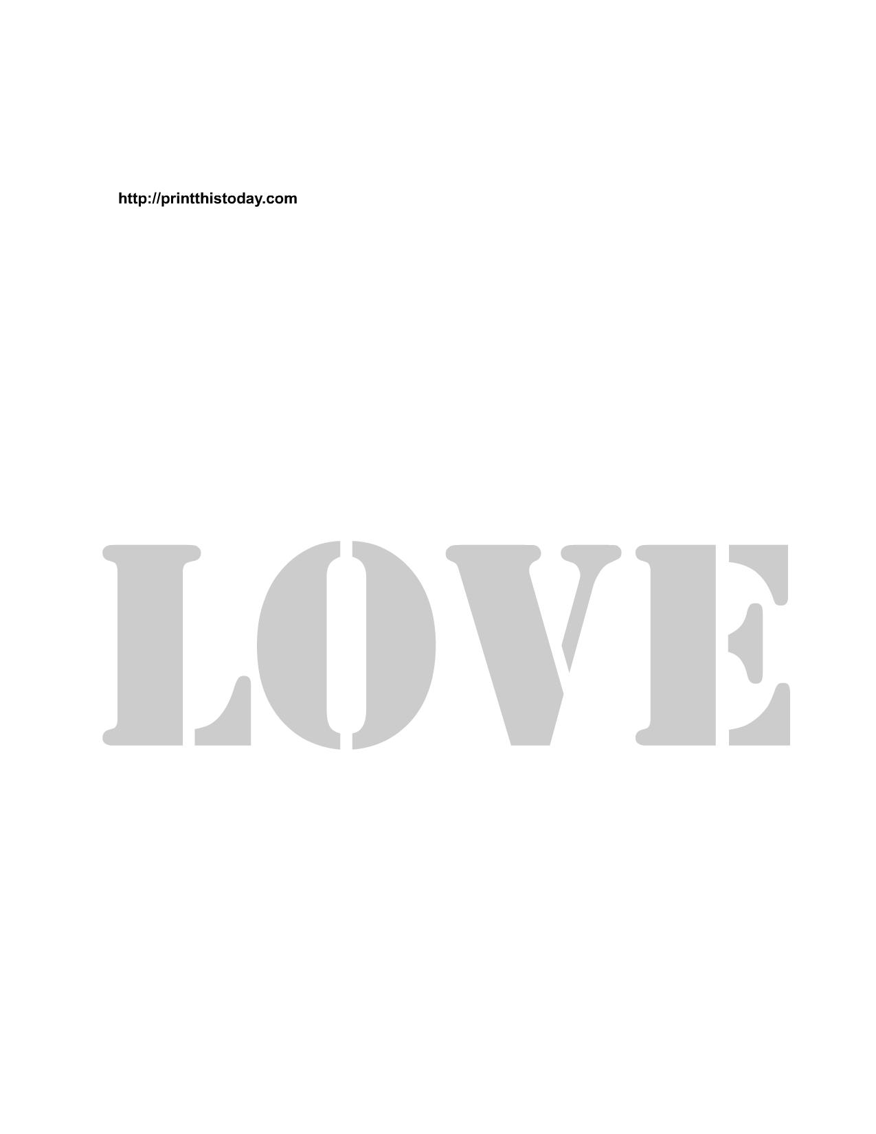 Free Printable Love Stencils With Images Szablony Obrazy Dekoracje