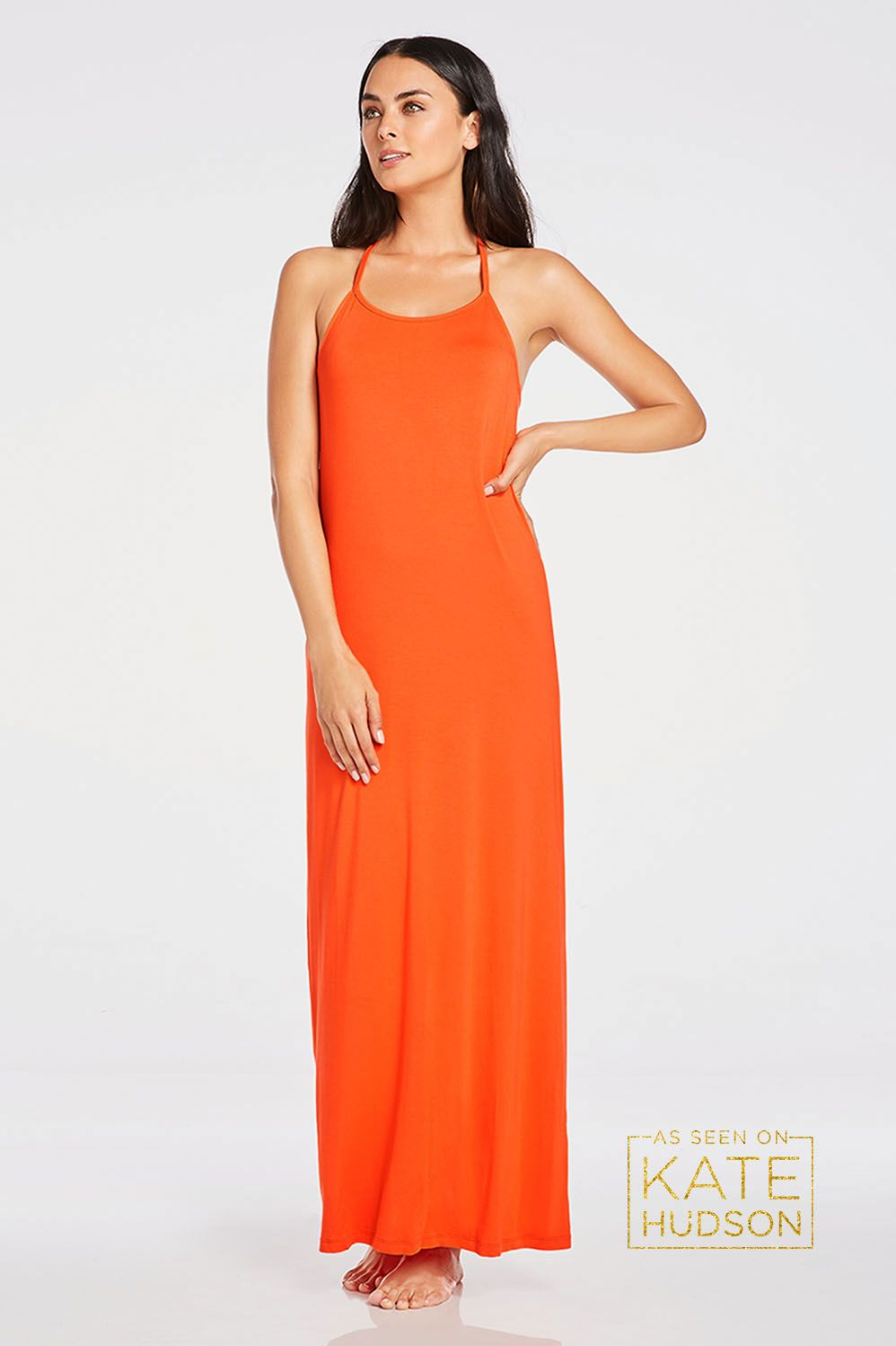 Staple maxi dress with silky fabric easy pullon styling and a