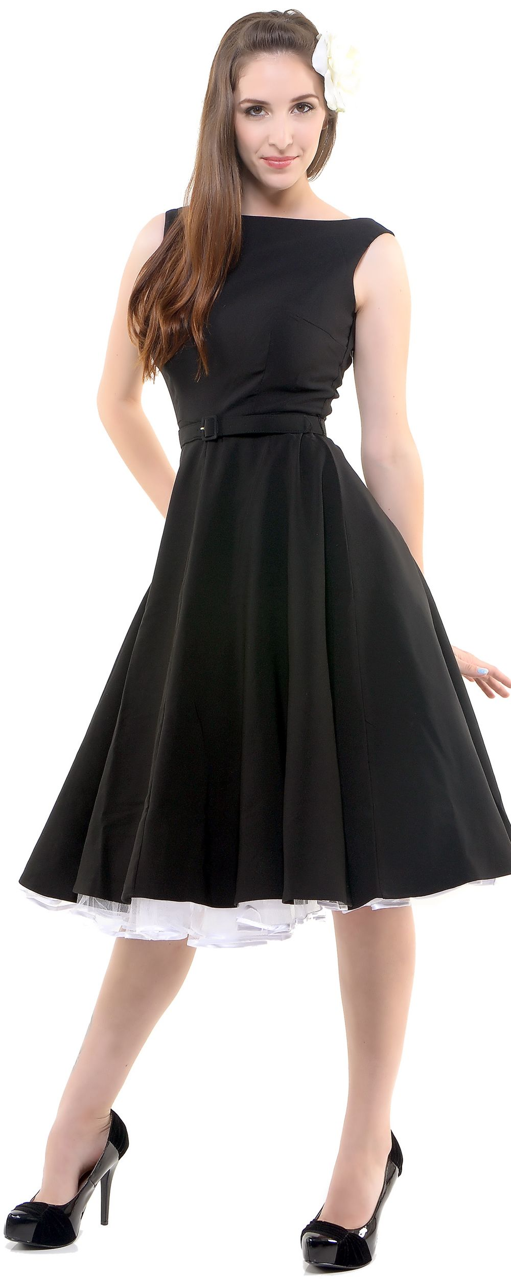 SALE! Black Jazmin Circle Skirt Swing Dress - Unique Vintage - Prom dresses, retro dresses, retro swimsuits.