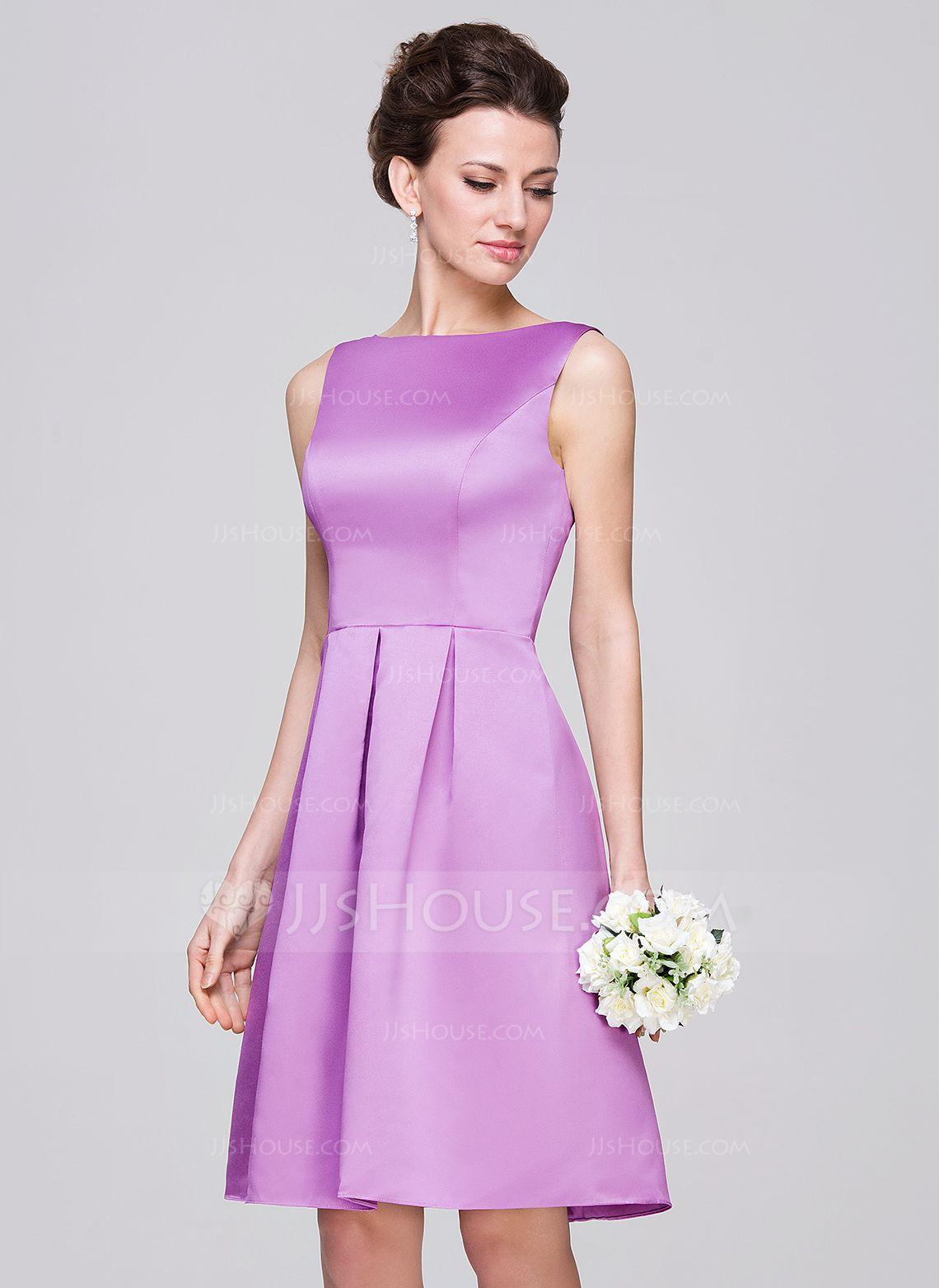 Alineprincess scoop neck kneelength satin bridesmaid dress with
