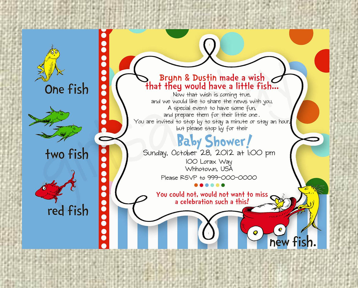 Dr Seuss Baby Shower Invitation One Fish Two Fish Boy Or Girl Printable    By Girlsatplay