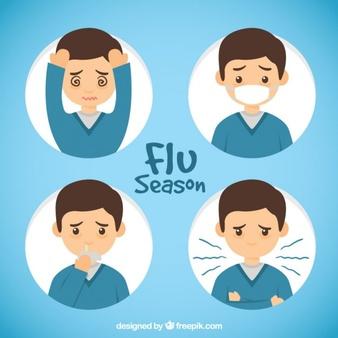 Descarga gratis Mano Dibujado Niño Con Síntomas De Gripe