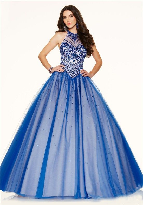 Ball Gown High Neck Open Back Royal Blue Tulle Beaded Corset Prom ...