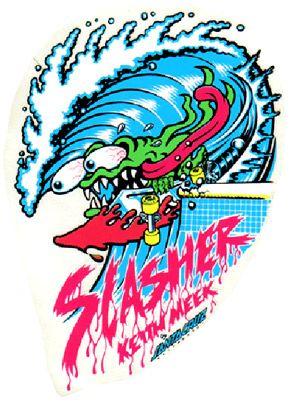Santa Cruz Slasher Skateboard Sticker Decal Logo Skate Old School Surf Deck