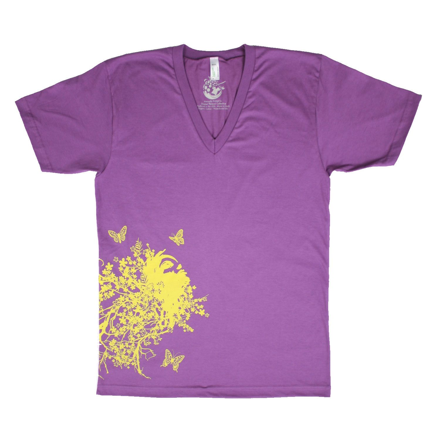 """Shown on American Apparel organic cotton, ultraviolet, """"LADYHEAD LOST"""" design by Heavyhand, Surbiton, Surrey, United Kingdom. Prices starting at $22. Eco-friendly, water-based ink in multiple colors. Offered on t-shirts, v-neck, infants and kids sizes, adult to 3XL, and more. Produced in the USA and made on Earth. Only at the Global Thread Collective."""