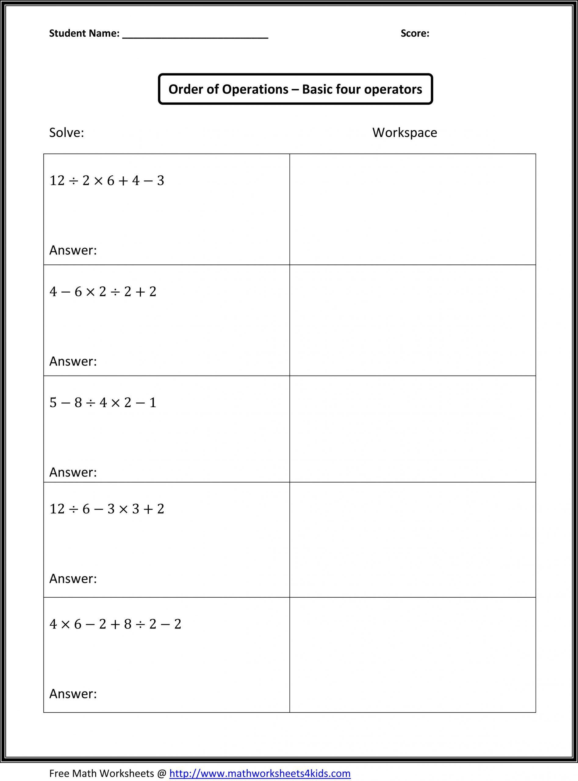 5th Grade Pemdas Worksheets Mrs Naik Order Operations
