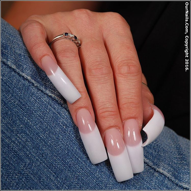 My nails done with pink and white acrylic. I did not grow these ...