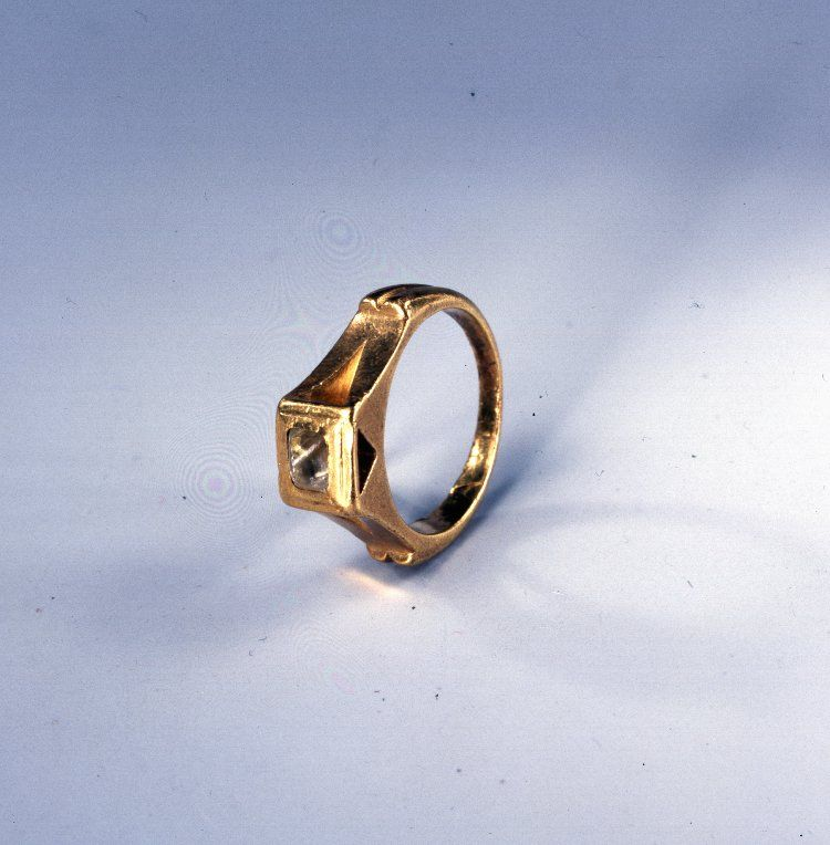 Roman, 3rdC. Gold finger-ring; hoop rounded without; one ...