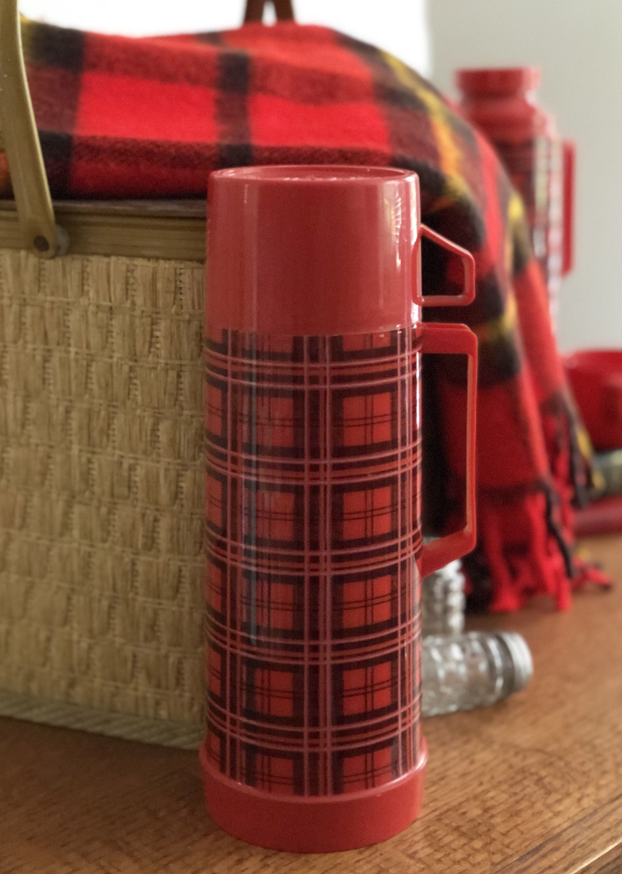 Vintage Aladdin Plastic Thermos Red And Black Plaid Etsy Vintage Thermos Vintage Kitchen Decor Vintage Picnic