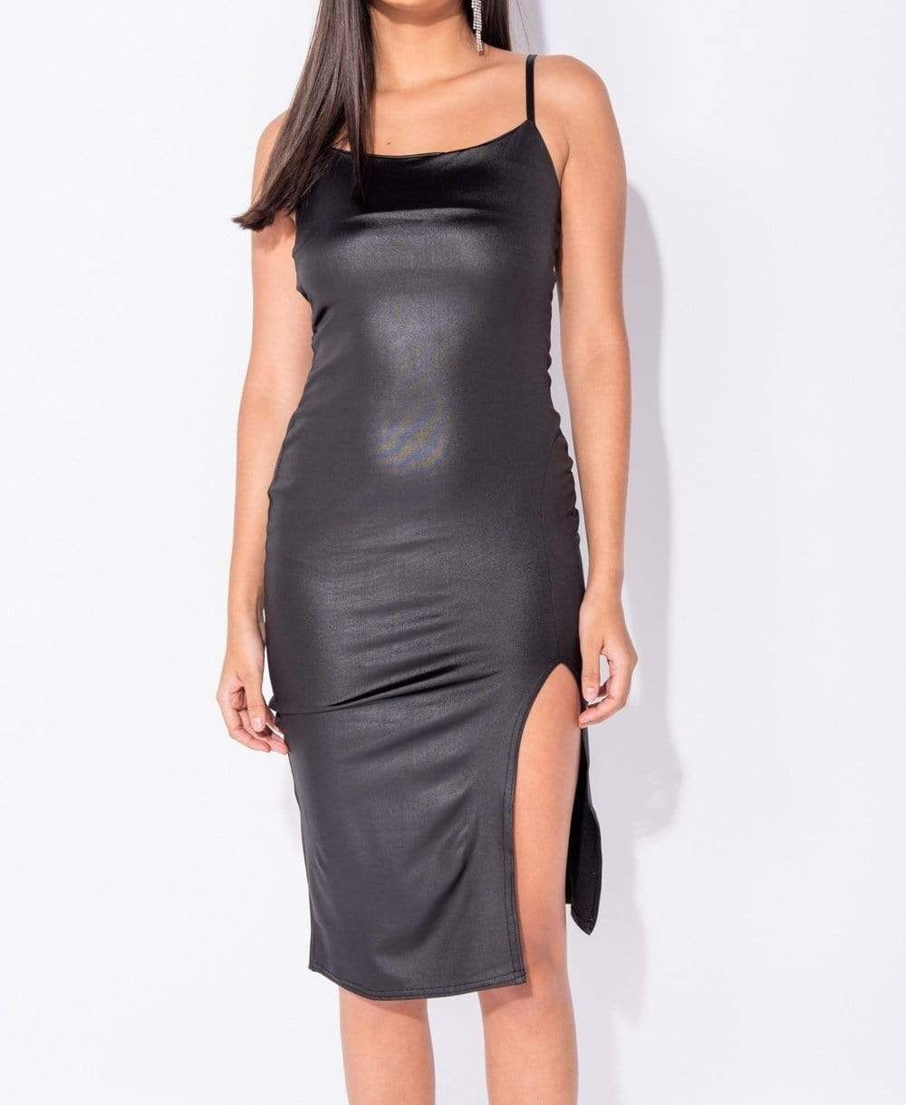 Wet Look Thigh Split Bodycon Midi Dress She S Dolled Up Midi Dress Bodycon Bodycon Midi Bodycon Dress [ 1219 x 1000 Pixel ]