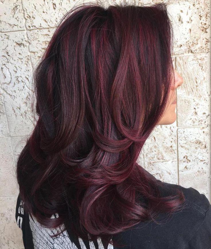 Medium Layered Hairstyle For Thick Hair Dark Burgundy Hair Burgundy Hair Thick Hair Styles