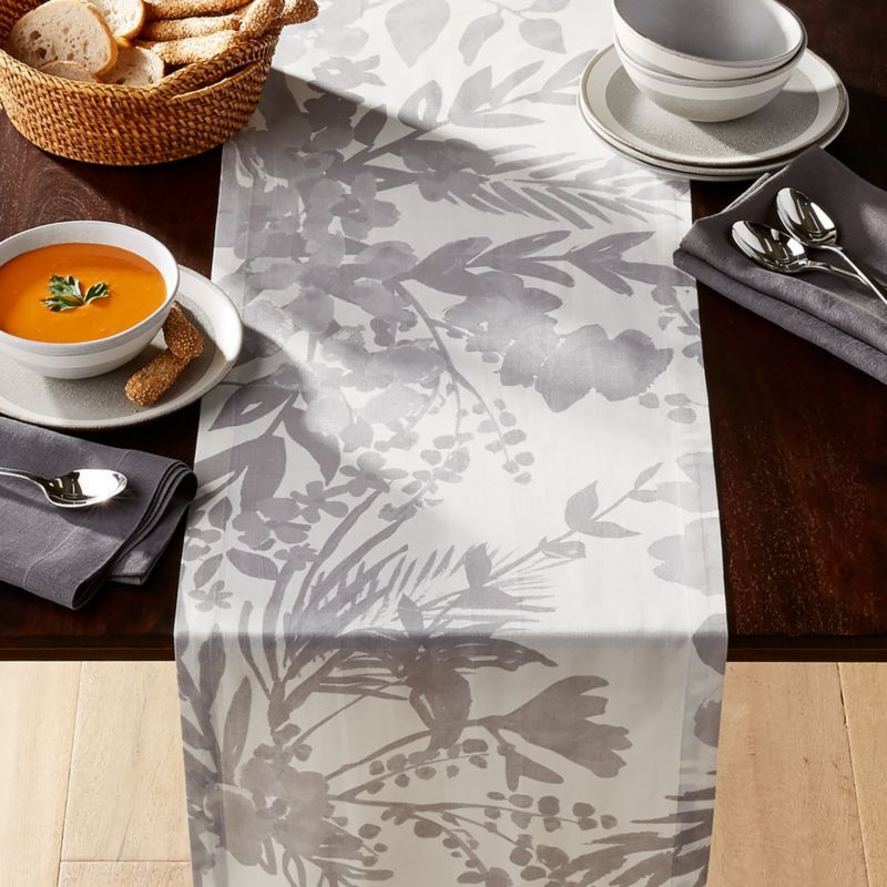 Free Shipping Shop Artiste Grey Table Runner 90 Softly Washed