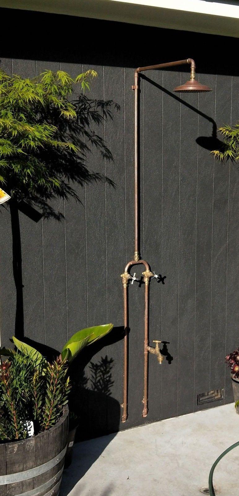 Outdoor Copper Shower Head 200mm Ebay Outdoor Shower Fixtures Outdoor Tub Outdoor Shower