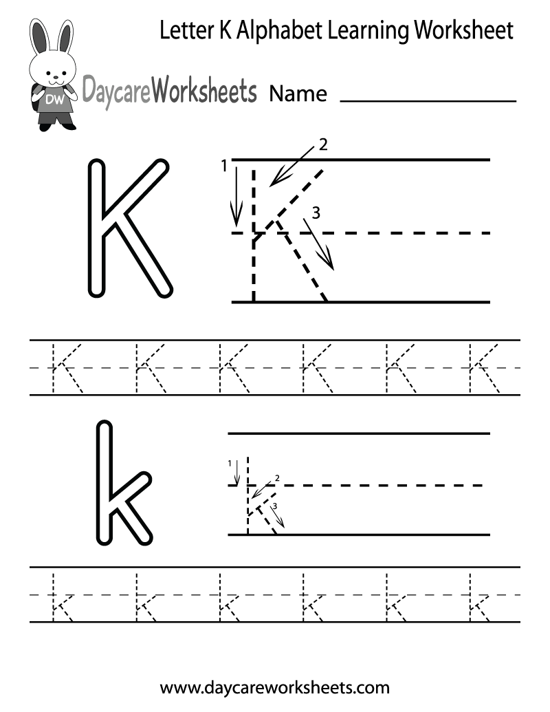 Worksheet Tracing The Letter K preschoolers can color in the letter k and then trace it following stroke order with