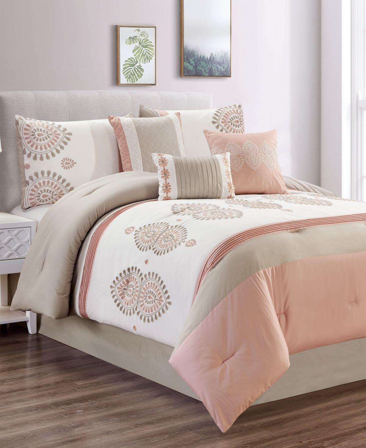 Closeout 7 Pc California King Comforter Set Blush Taupe Comforter Sets Full Comforter Sets Comforters