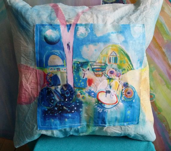 Hand Painted and Applique Pillow  14x14 inch by AquaFaerieLight, $39.95