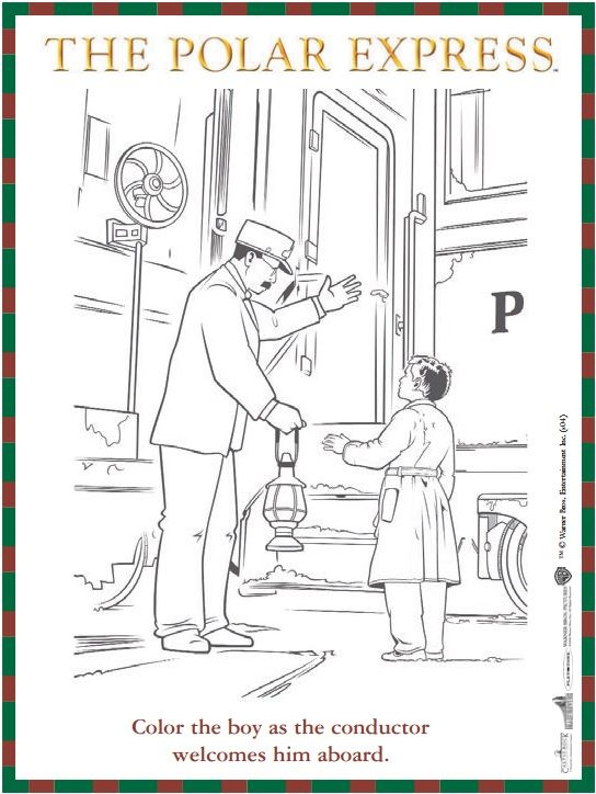 Free reproducible The Polar Express coloring sheet