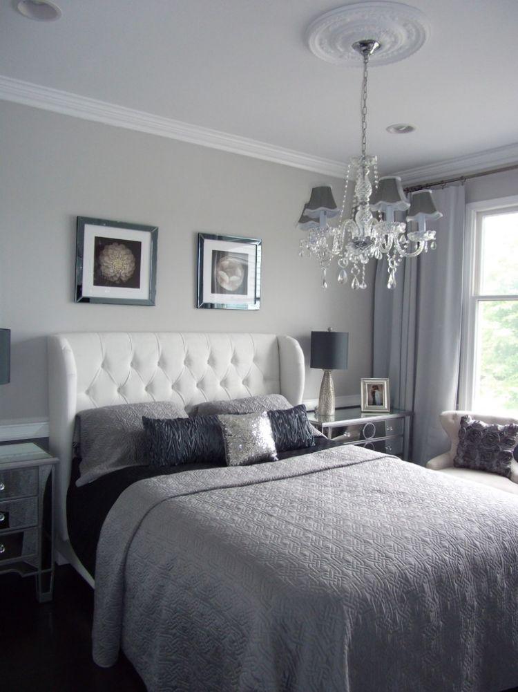 wandfarbe grau -schlafzimmer-gepolsterter-bett-kopfteil-weiss ... - Schlafzimmer Einrichten Graues Bett
