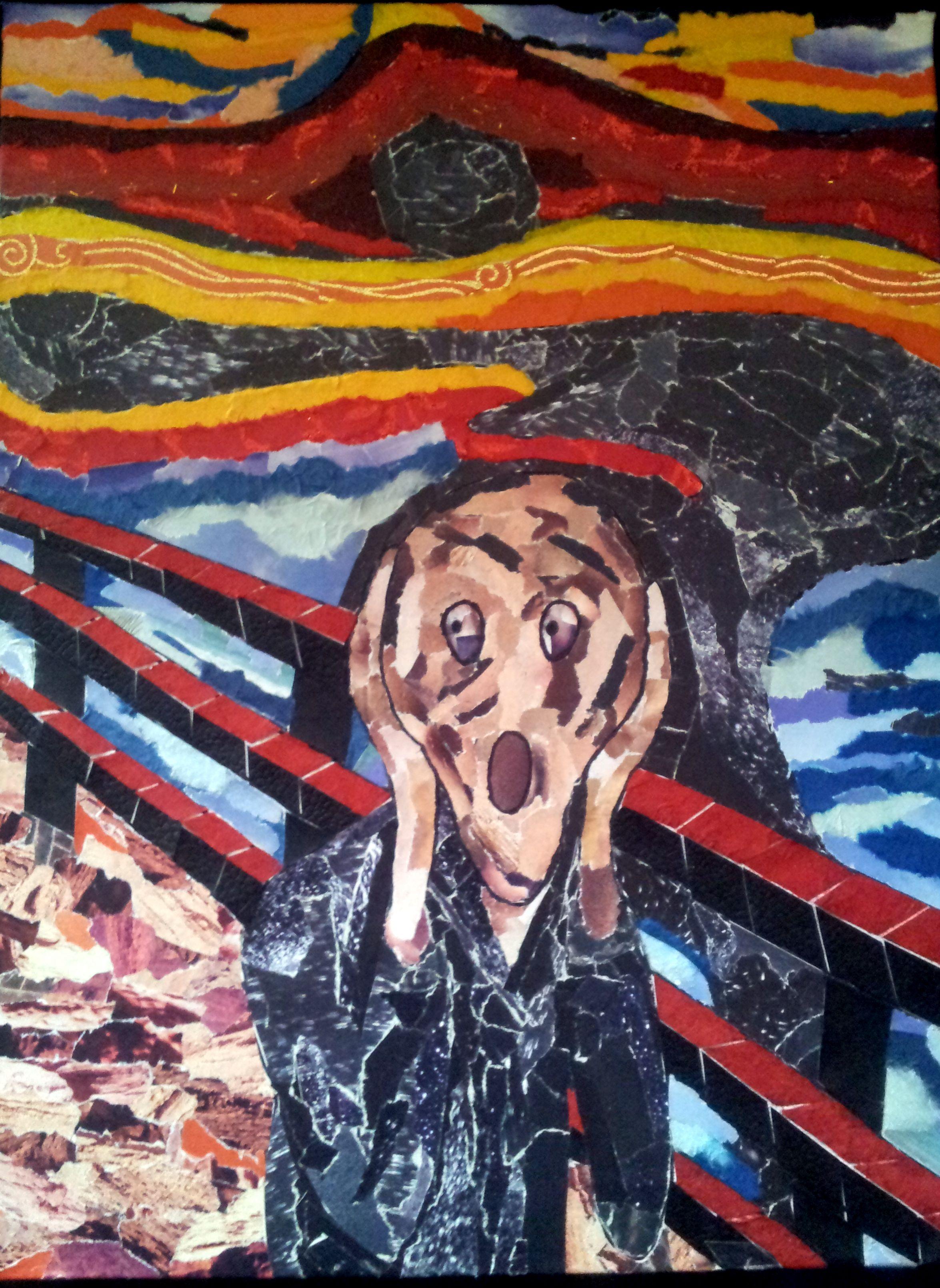 De Schreeuw Gemaakt Van Gescheurd Papier Postmodernisme De Schreeuw Edvard Munch En Kunst