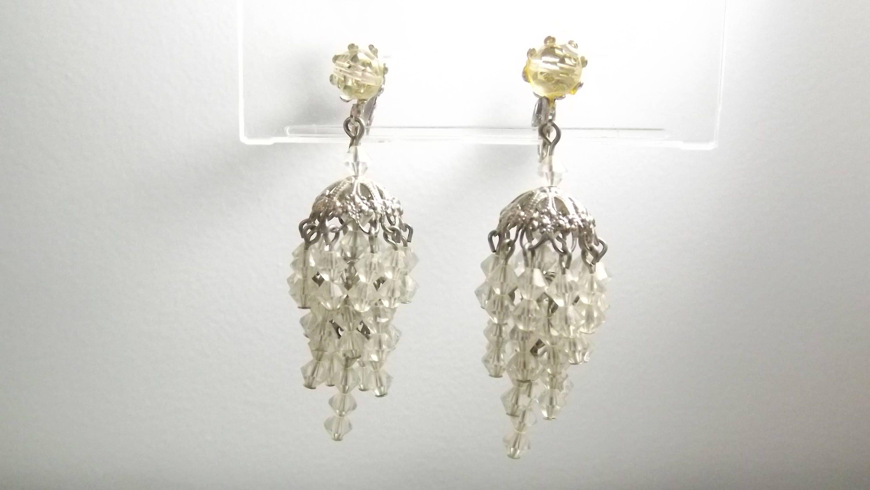 Vintage chandelier clip on earrings 3 silver bell caps with vintage chandelier clip on earrings 3 silver bell caps with cascading clear beads by outrageousvintagious arubaitofo Gallery