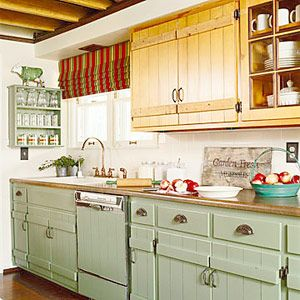 Elegant Mixing Wood Grain And Painted Cabinets