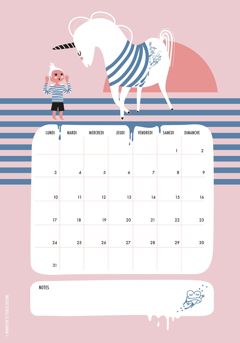 free printable unicorn calendar august 2015