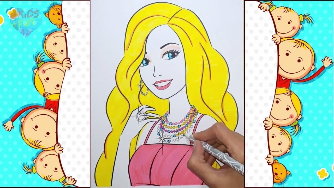 Kids Coloring Activity Barbie Coloring Book Pages Kids Color Learning Childrensbooks Youtube Youtubechan Barbie Coloring Coloring Books Drawing For Kids