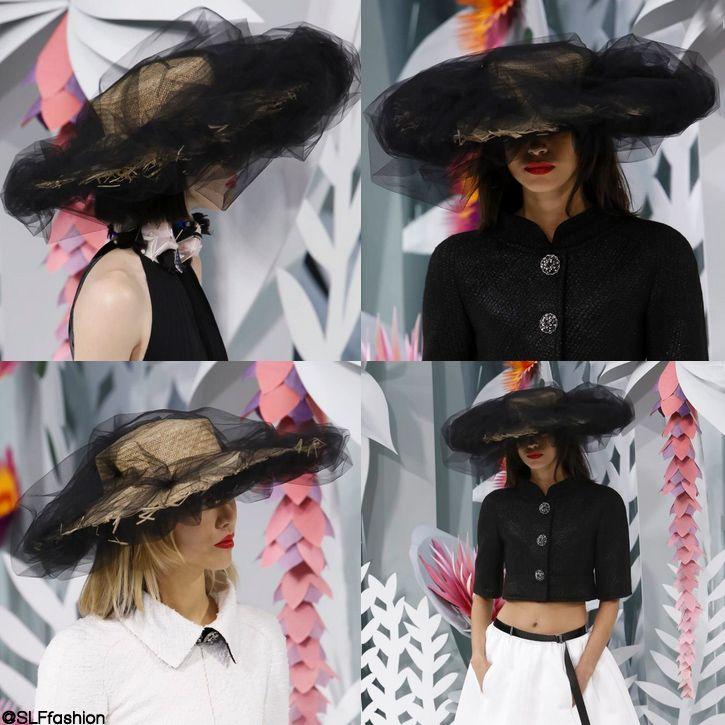 Hybrid headwear design: Chic black tulle + Peasant straw Hat at Chanel Spring Summer 2015 Haute Couture PFW. #chanelhautecouture