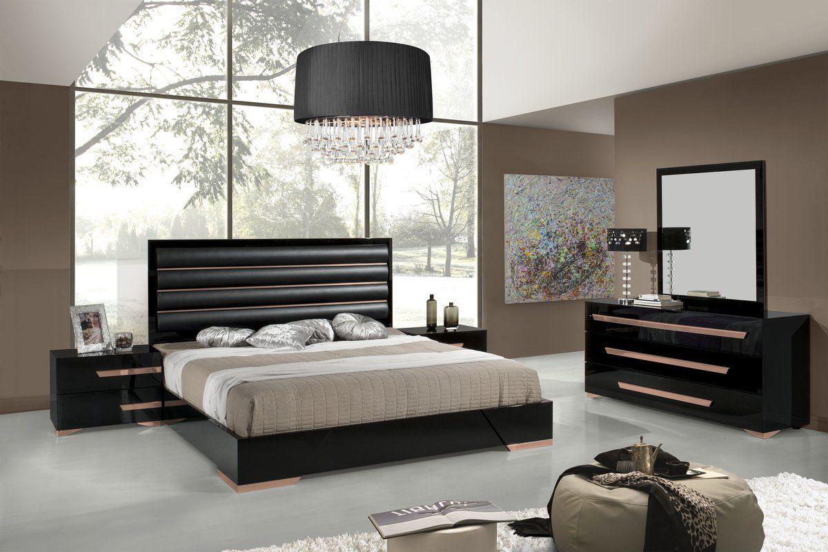Black Gold Bedroom Ayaan Platform 5 Piece Bedroom Set Designed By Their In House De Contemporary Bedroom Contemporary Bedroom Design Modern Bedroom Furniture
