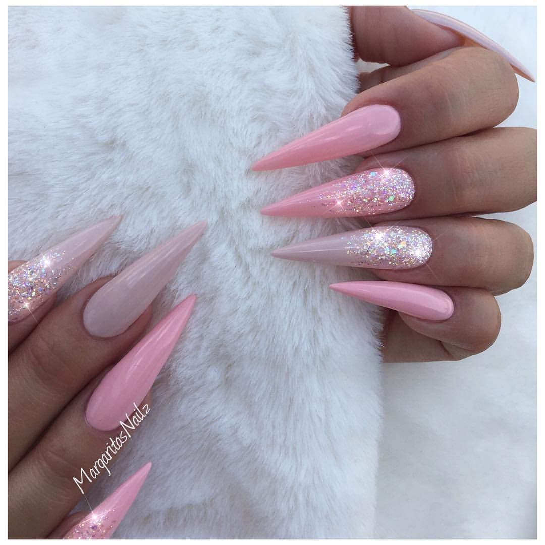 Nude pink stiletto nails Glitter ombré design | Pink and nude nail ...