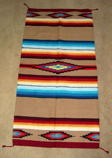Saltillo Mexican Throw Rug Tapestry Southwestern 32x64 Acrylic Gold