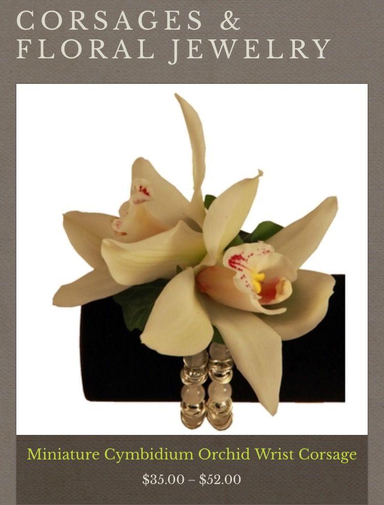 Miniature Cymbidium Orchid Wrist Corsage Icy Mint Bracelet White Miniature Cymbidium Orchid Blooms Accente Wrist Corsage Cymbidium Orchids Floral Jewellery