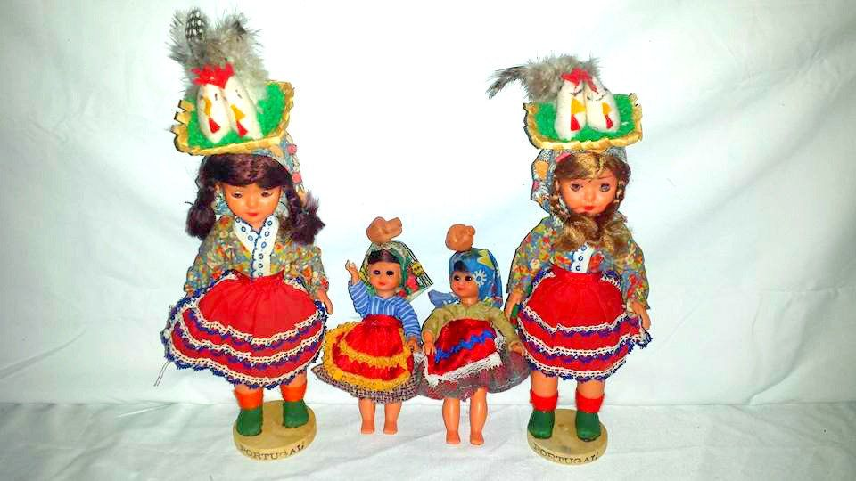 Vintage Portugal Girl Dolls,Set of 4,Portugese Dolls,Spanish Dolls,Lot of Portugal Souvenir Dolls,Head Baskets,Water Jugs,Ethnic,Circa 1960s #spanishdolls