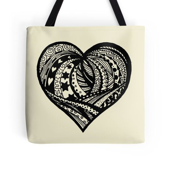Zentangle Valentine Heart 5 by Heather Holland shown here with cream background.  Choose the background colour of your choice on a range of items featuring this zentangle at Redbubble http://www.redbubble.com/people/heatherian/works/13633717-zentangle-valentine-heart-5-by-heather-holland?p=tote-bag