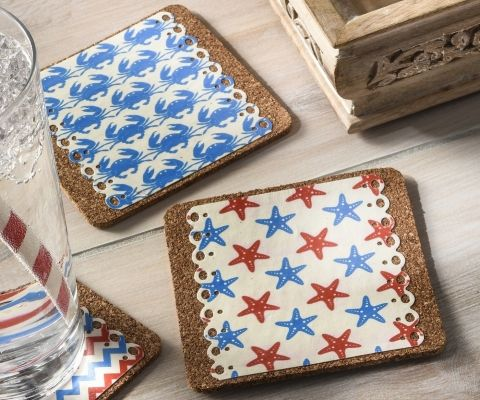 Use Dishwasher Safe Mod Podge to decoupage these unique drink coasters for summer! Get free nautical papers in a variety of patterns for your project.