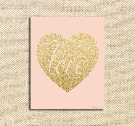 Instant Download Gold Glitter Heart Love Digital Printable Art Heart Art Print Nursery Decor Wall Art Office Decor Print