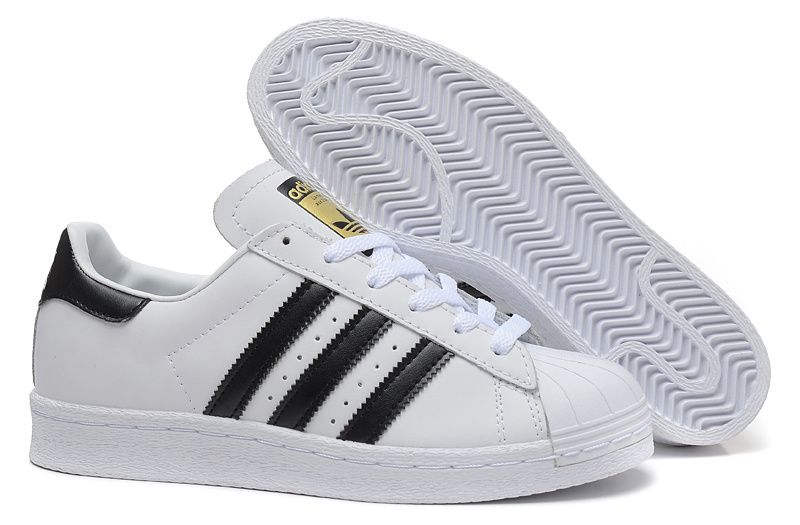 Adidas Superstars 2 White Black Trainers Golden Logo ...