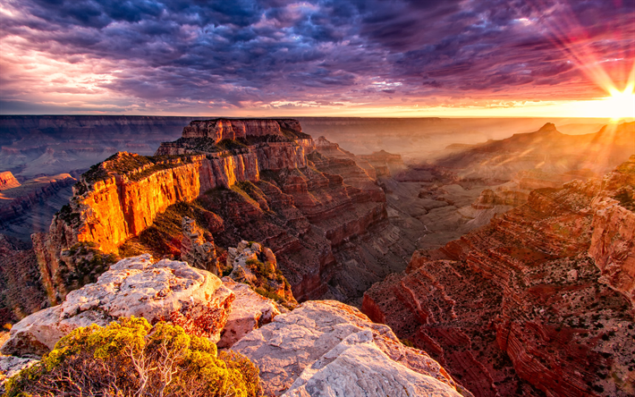 Download Wallpapers 4k Grand Canyon Sunset Cliffs