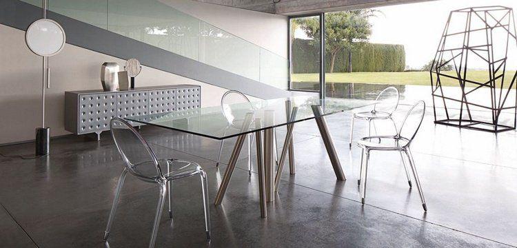 Merveilleux Meubles Salle à Manger Roche Bobois  Table En Verre Et Métal Et Chaises  Acryliques