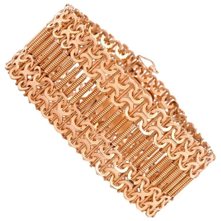 Retro Machine Age Design Wide Rose Gold Mesh Bracelet From a