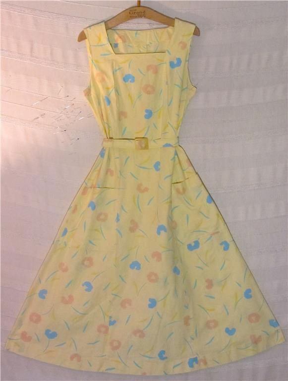 gul rockabilly klänning