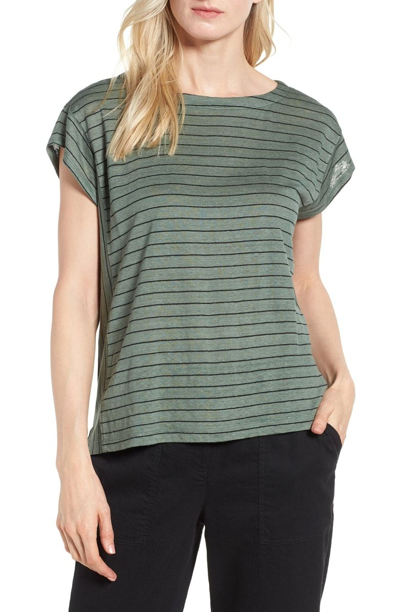 d28af94742f Striped T Shirts · Free shipping and returns on Eileen Fisher Stripe  Organic Linen Top (Regular  amp  Petite