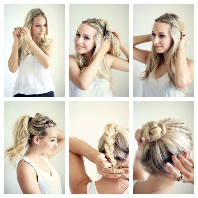 We love this pretty take on the braided bun hair tutorials diy braided bun hair diy braid bun diy ideas do it yourself easy diy diy hair diy tips braided bun diy images do it yourself images diy photos diy pics solutioingenieria Image collections