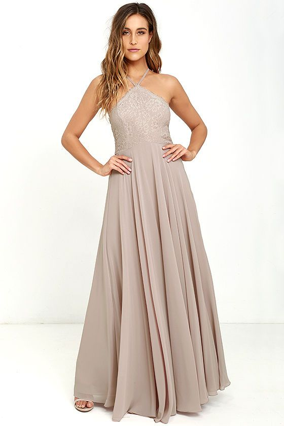 Everlasting Enchantment Taupe Maxi Dress Taupe Maxi Dress Beige Bridesmaid Dress Lulus Bridesmaid Dresses