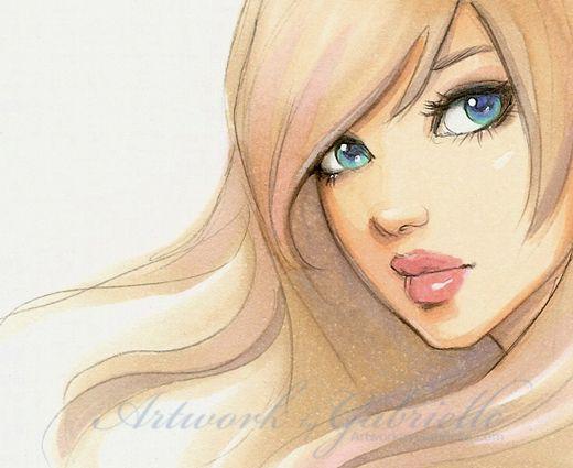 Blond Girl Long Hair And Blue Eyes #drawing / Ragazza Bionda Capelli Lunghi E Occhi Azzurri # ...