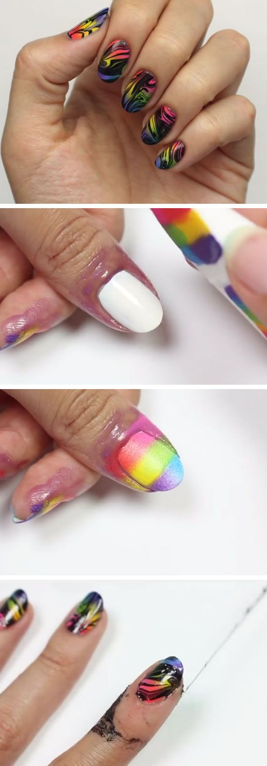 Black Ink Spill Rainbow Ombre Nails 18 Easy Summer Nails Designs