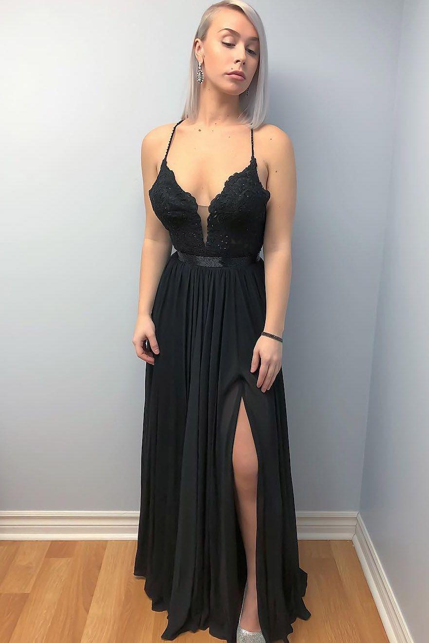 b3d83574 Black Long Evening Dress with Slit, Sexy Evening Dress Black