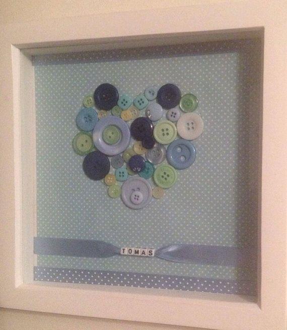 Beautiful personalised button art heart box frame new baby beautiful personalised button art heart box frame new baby easter gift on etsy negle Gallery